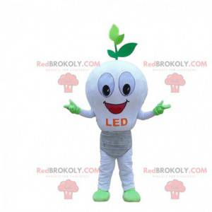 Mascotte lampadina LED bianca, costume ecologico -