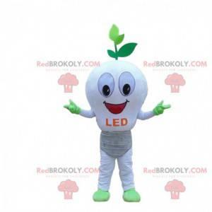 Weißes LED-Glühbirnenmaskottchen, ökologisches Kostüm -