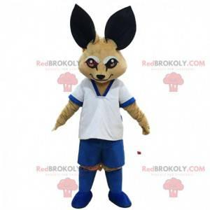 Mascote fennec, raposa da areia em roupas esportivas -
