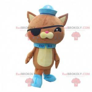 Mascote gato marrom em roupa de pirata, gato de pelúcia -