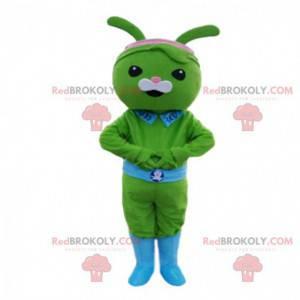 Mascotte groen konijn met een riem en een blauwe kraag -