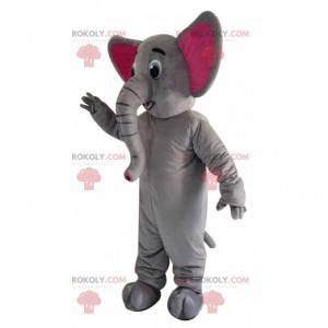 Mascota elefante gris y rosa con una gran trompa -