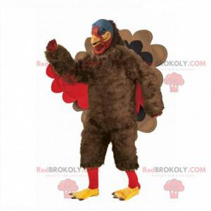 Mascote gigante de peru, fantasia de peru marrom e vermelho -