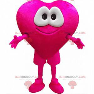 Mascote gigante de coração rosa com olhos muito tocantes -