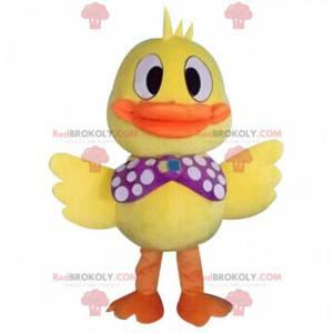 Mascote grande pato amarelo muito festivo, fantasia de pássaro