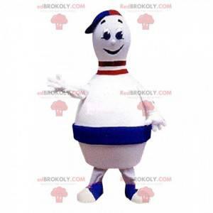 Giant white and blue bowling pin mascot - Redbrokoly.com