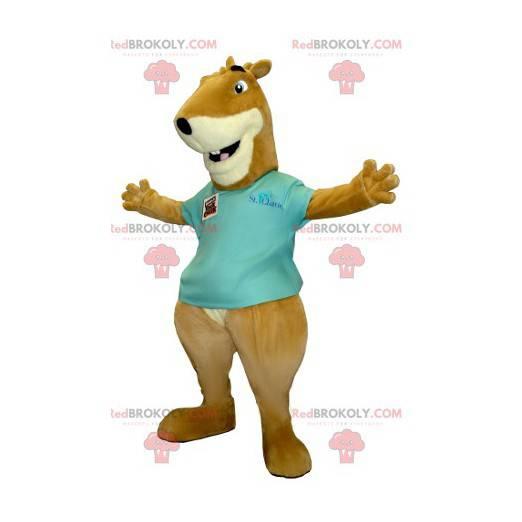 Marmot maskot hnědá a bílá veverka - Redbrokoly.com
