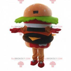 Obří hamburger maskot, hamburger kostým, rychlé občerstvení -