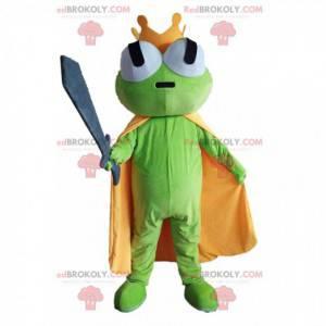 Mascota de la rana verde con una capa amarilla y una corona -
