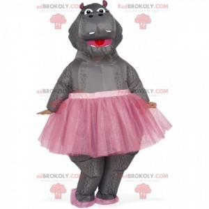 Mascote hipopótamo inflável em tutu, fantasia de dançarina -