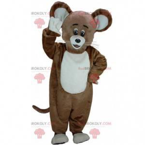 Mascote de rato marrom e branco, fantasia de rato grande -