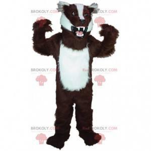 Brun og hvid grævling maskot, polecat kostume - Redbrokoly.com
