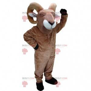 Mascotte di capra, montone marrone con grandi corna -