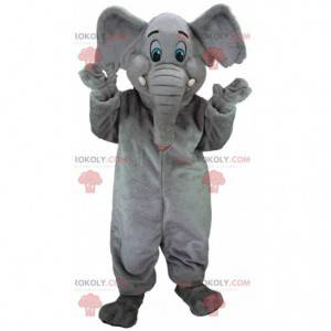 Gray elephant mascot with blue eyes, pachyderm costume -
