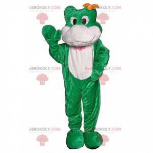 Mascota de la rana verde con una flor en la cabeza. -
