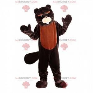 Mascote castor marrom, fantasia de roedor, castor gigante -