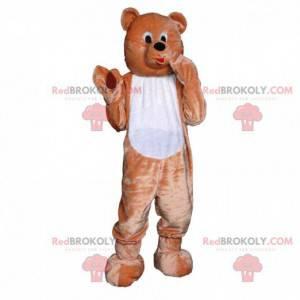 Braunes und weißes Teddybärmaskottchen, Bärenkostüm -