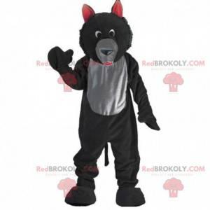 Mascotte zwarte en grijze wolf, pluche wolfskostuum -