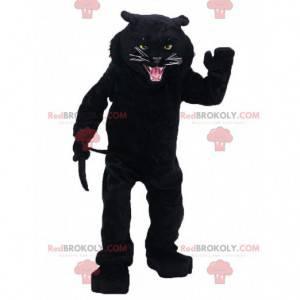 Mascotte brullende zwarte panter, woest katachtig kostuum -