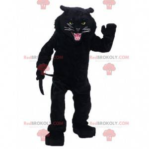 Roaring black panther mascot, ferocious feline costume -