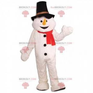 Mascotte del pupazzo di neve con un cappello e una sciarpa -