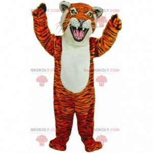 Orange, white and black fierce tiger mascot, feline costume -