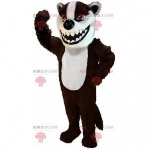 Mascote de texugo marrom e branco, fantasia de doninha -