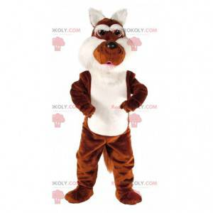 Brown and white coyote mascot, two-tone dog costume -
