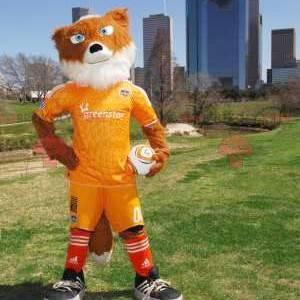 Mascote raposa laranja e branca em roupas esportivas amarelas -
