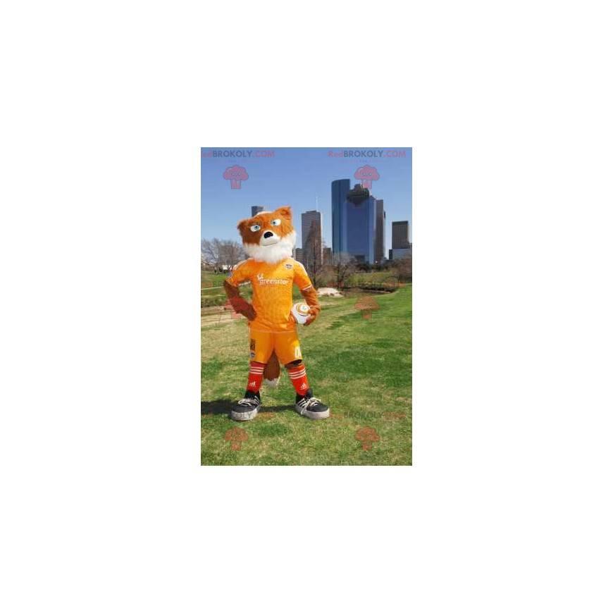 Orange und weißer Fuchs Maskottchen in gelber Sportbekleidung -