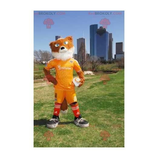 Maskot oranžová a bílá liška ve žlutém sportovním oblečení -