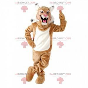 Mascotte gatto selvatico marrone e bianco, costume da puma -