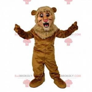 Mascote leão marrom de pelúcia, fantasia de felino -