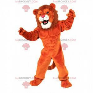 Mascota del león naranja, disfraz de animal muy musculoso y