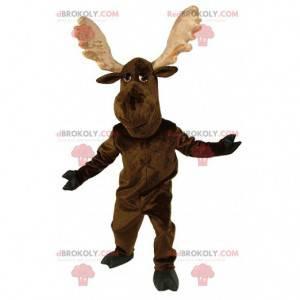 Mascotte di caribù, grande renna, costume da alce marrone -