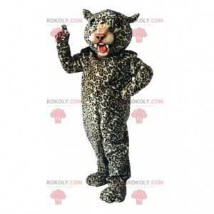 Mascote de leopardo feroz, fantasia felina de pelúcia -
