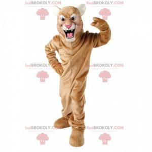 Maskot beige cougar, puma forklædning, tiger - Redbrokoly.com