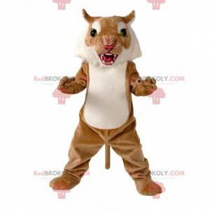Braunes und weißes Wildkatzenmaskottchen, Puma-Kostüm -