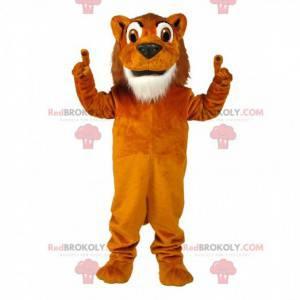 Oranje en witte leeuw mascotte, kleurrijk katachtig kostuum -