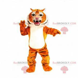Mascote tigre laranja, branco e preto parecendo feroz -