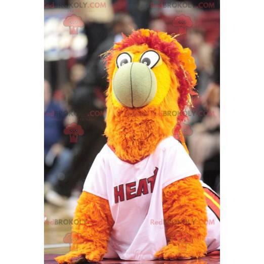 Žlutý, červený a oranžový pták maskot - Redbrokoly.com