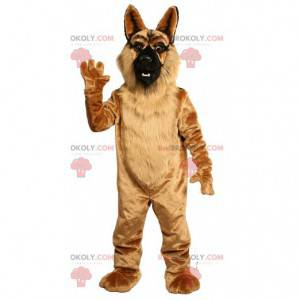 Brown German Shepherd Maskottchen, haariges Hundekostüm -