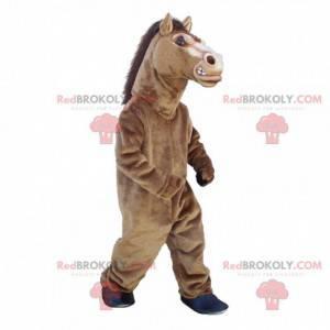 Mascote de cavalo marrom, fantasia realista de cavalo grande -