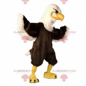 Grande mascotte aquila marrone e bianca, costume da avvoltoio -