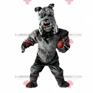 Bulldog mascot, plush gray dog costume - Redbrokoly.com