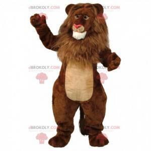 Mascote leão marrom e bege, fantasia de felino gigante e peludo