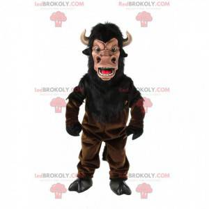 Mascotte bruine buffel, buffelkostuum met hoorns -