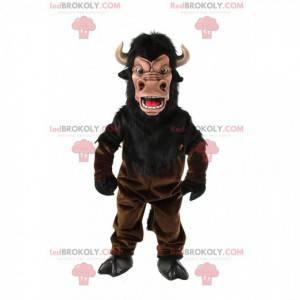 Mascotte di bufalo marrone, costume da bufalo con le corna -