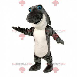 Mascota de tiburón gris y blanco, disfraz de pez grande -