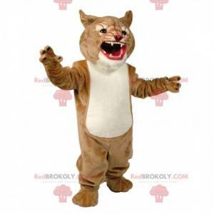 Maskot béžová a bílá puma, divoký kočičí kostým - Redbrokoly.com